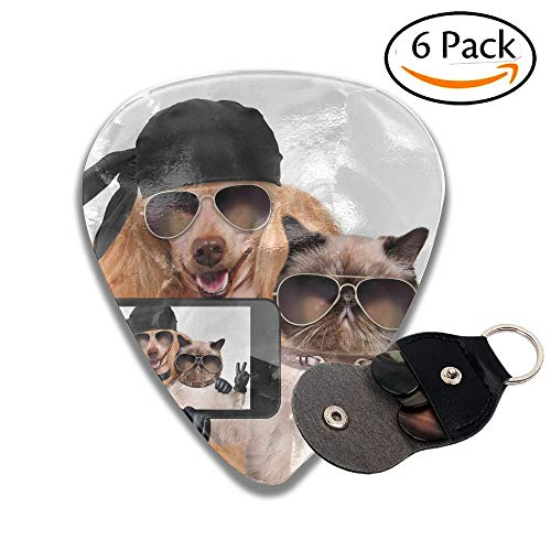 Pro Dado-set (Dog With Cat Taking A Selfie Together With A Smartphone Stylish Celluloid Guitar Picks Plectrums For Guitar Bass 6 Pack.96mm)