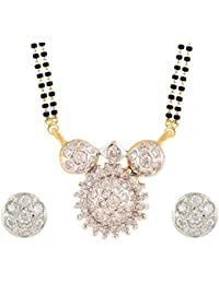 Archi Collection American Diamond Mangalsutra Pendant With Chain And Earrings For Women