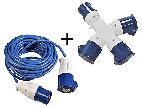 Preisvergleich Produktbild 2 tlg Set 16A CEE 3-fach Stromverteiler 240V + 14m Stromkabel 3x1, 5mm² mit Spritzwasserschutz