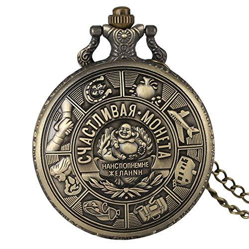 HANXIAO Taschenuhren Russische geprägte Sammlung Münze Schmuck Quarz Taschenuhr Souvenir Anhänger Uhr Vintage-Uhren mit Bronze Halskette Kette-Hellrosa