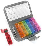 PuTwo Pillendose 7 Tage Tablettenbox tragbar mit 28 Fächer und Schutzhülle, Luft-wasser verdichtet