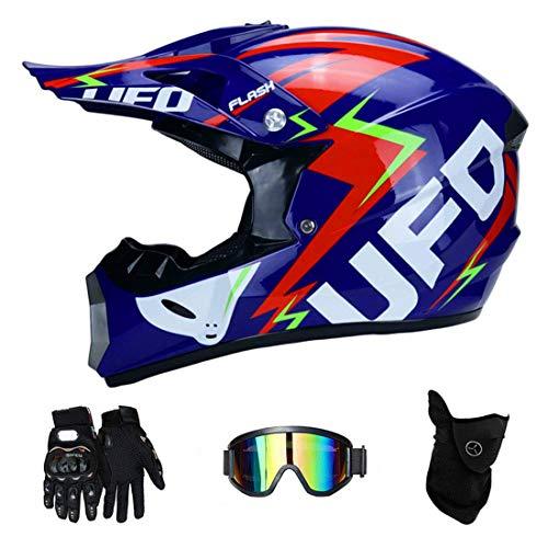 TLPSB Motorradhelm Herren, Dual Sport Motocross Helm Off Road Motorrad Dirt Bike ATV DOT Zertifizierter Mountainbike-Helm der V1-Serie mit Brille Winddichte Masken-Rennhandschuhe,D,L59~60CM -
