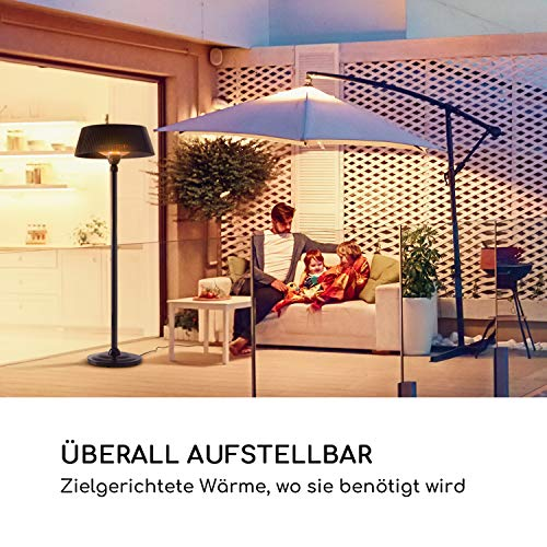blumfeldt Venice Heat Stand Infrarot-Heizstrahler • Stand-Heizstrahler • Terrassen-Heizstrahler • 1000/2000 W • IR ComfortHeat Technologie • Außengebrauch • schwarz