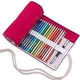 Amoyie trousse à crayon enroulable pour 72 crayons de couleur, sacs organiseurs de toile, porte-crayons pochettes rouleaux, enveloppe de crayon