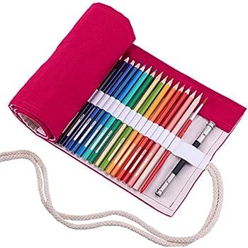 ZREAL 72 Trous Trousse enroulable en toile R/étro Trousse /à Crayons en Toile avec Impression dimages Rouleau pour Crayons de Couleur Sac de Rangement Titulaire Toile Poche