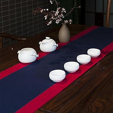 LINDA?Napperons Chemins De Table Japonais Manuellement Cérémonie Du Thé Plaine Fluidique Table En Toile Nappe?A?220X30
