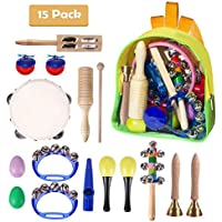 Toddler Musical Instruments, DUKWIN 15 Pieces Kids Percussion Drums Toys Rhythm Band Set, Educational Early Learning Music Toys for Kids and Baby with Carrying Bag