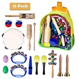 Musical Instruments Set, TECKCOOL 15 Pieces Kids Percussion Set Drums Toys Rhythm B