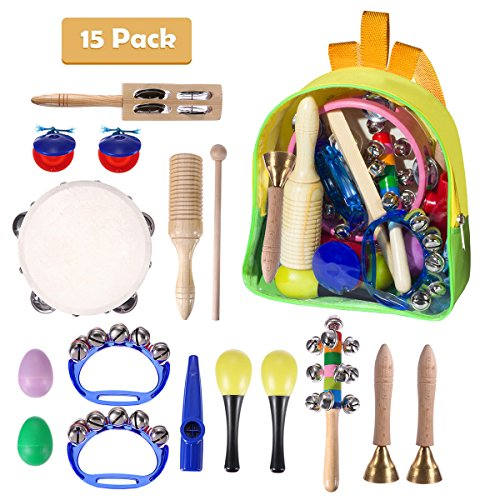 Toddler Musical Instruments, TECKCOOL 15 Pieces Kids Percussion Drums Toys Rhythm Band Set, Educational Early Learning Music Toys for Kids and Baby with Carrying Bag