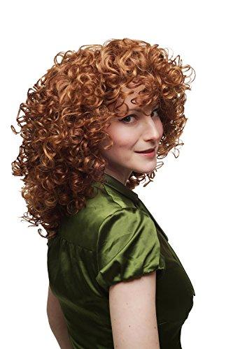 WIG ME UP ® - SA042-350/144 Damenperücke Perücke verrückte Lockenpracht super lockig voluminös Rot Blond Mischung