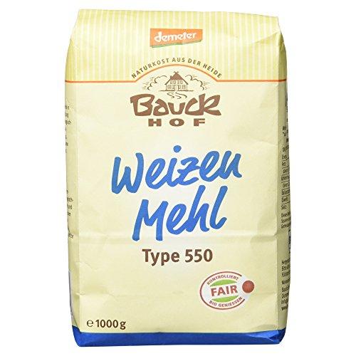 Bauckhof Weizenmehl Hell Type 550, 1 kg Tüte - Bio