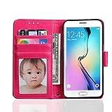Samsung Galaxy S7Schutzhülle. Bezug Kunstleder Case Flip Wallet Cover sportmaking Hohe Qualität Store Hot Pink Samsung Galaxy S7