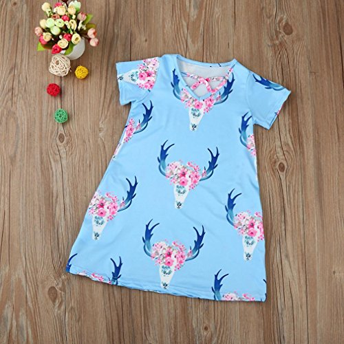 parent-child Dress, Hansee Deer stampa A-Line Dress pullover casual mini vestiti Blue(Kids)
