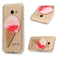 A3 2017 Case, Galaxy A3 Glitter Case, YOKIRIN Transparent Clear 3D Creative Moving Floating Sparkle Love Hearts Stars Liquid Bling Protective Case for Samsung Galaxy A3 2017, Ice Cream