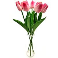 SATYAM KRAFT Artificial Foam Flowers Tulip Sticks for Home Decoration and Craft (Baby Pink, 5 Pieces)