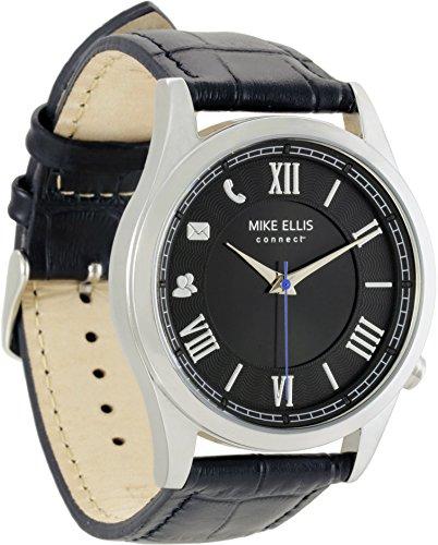 """Mike Ellis connect Smartwatch """"Senator""""; luxuriöses Design aus Edelstahl und Band aus Echtleder in Schwarz/Silber"""
