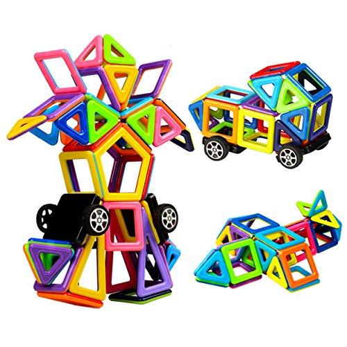 Innoo Tech Magnetische Bausteine, 76tlg Mini Inspirierende Bauklötze, Magnetbausteine Konstruktion Blöcke, Magnetspielzeug Lernspielzeug, Tolles Geschenk für Kinder ab 3 Jahr (Magnetische Holz Bausteine)
