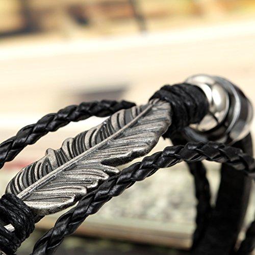 Flongo Bracelet Alliage Cuir Corde Cordon Lien Poignet Plume Perle Tressé Rétro Multirangs Tribal Réglable Fantaisie Bijoux Cadeau Noir Brun pour Femme Homme noir
