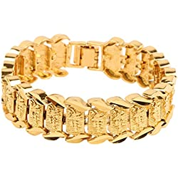 "Anvi Jewellers 18CT Gold And Rohdium Coated ""The Gunman Style"" Heavy Mens Bracelet At Special Raksha Bandhan Gift"