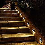 Lumière murale à énergie solaire 6 LED Éclairage extérieur à l'escalier / Sans fil Capteur de lumière imperméable à l'eau / Lumière blanche / pour clôture Terrasse Terrasse Jardin Extérieur Paroi Walkway 4 Pack