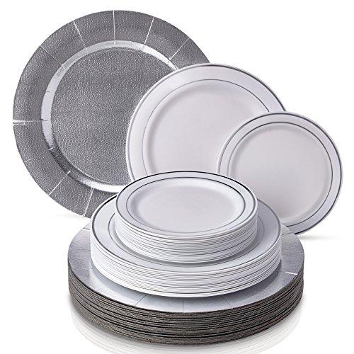 SERVICE DE VAISSELLE JETABLE MODERNE ÉLÉGANT 60 PCS | Assiettes en plastique résistantes | 20 sous-assiettes | 20 assiettes à dîner | 20 assiettes à salade | pour mariages et dîners de haut standing | Collection Silver Glare (blanc/argent)