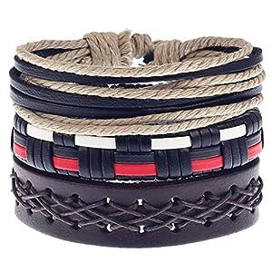 Einfache Vintage Männer handgewebte Armband, Legierung Lederarmband Gitarre Armband Set, 4pc 17-18 cm einstellbare mehrschichtige Seil Halskette, Geschenk für Sie und Ihre Freunde Familie