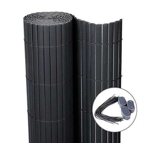 WOLTU GZZ1186gr3 Sichtschutzmatte PVC Sichtschutzzaun , Sichtschutz Windschutz für Balkon Garten Markise Zaun , Grau , 100 x 500 cm (Höhe x Länge)