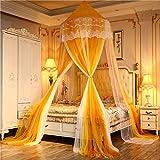 QQA Kinderbett Baldachin rosa runde Kuppel, Kinderzimmer Dekorationen, Regenbogen Baumwolle Moskitonetz Betthimmel Kinder Spielen Zelt for Baby, Höhe (Color : Yellow)
