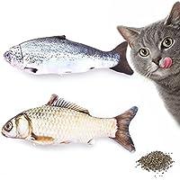 JunBo 2Pcs Fisch Spielzeug für Katzen mit Katzenminze Innen Katzenspielzeug in Fischform