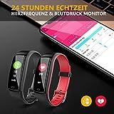 Winisok Fitness Armband mit Blutdruckmessung Pulsmesser, Fitness Tracker Uhr Wasserdicht IP67 Schrittzähler Uhr Stoppuhr Sport GPS Aktivitätstracker Schlafüberwachung Anruf SMS für Kinder Damen Männer - 2
