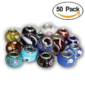 Pacco di 50 Perle Pendenti in Stile Vetro Soffiato di Murano per Gioielleria Braccialetti Collane da Kurtzy TM