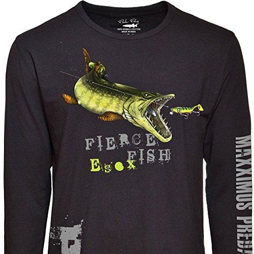Fladen Angeln-Hungry Pike-100% Baumwolle Lange Ärmel Schwarz T-Shirts-Eigenschaften Pike Attacking Reiz Design-Ideal für diejenigen, die lieben Raubfische, schwarz -
