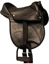 'Amka reitki ssen Nevio de Poney Selle Shetty 10Kit complet avec sangle, sangle et Étrier Convient également pour les chevaux en bois noir