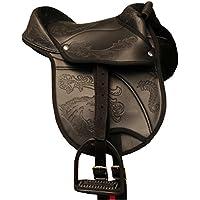 Amesbichler AMKA Nevio Pony de Shetty Sillín 10Set Completo con Correa, cinturón y estribos también para Caballos Madera. Negro