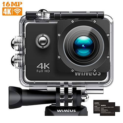 WIMIUS Sports Action Camera 4K 16MP WiFi Waterproof Action Cam Sports Camcoder with Carrying Case 2 Batteries Accessories Q1+