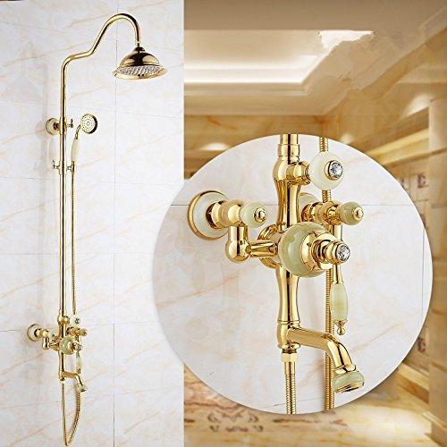 Europäische Stil Dusche Suite goldenen Marmor antiken Wasserhahn alle Kupfermischventil, A (Suiten Für Jungen)