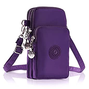 M.Way Multinational Outdoor Sports 3 Layers Storage Zipper Waterproof Nylon Crossbody Wrist Shoulder Bag Cell Phone Pouch Handbag Armband Case for iPhone6/7 Samsung S5 S6 S7 Under 5.5'' Purple Purple