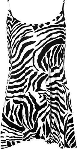 NEU Damen bedruckt Riemchen Cami Spaghetti Damen Swing Kleid Plus Größe 8–22 Gr. 40, Zebra (Kleid Zebra Rose)