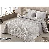 FUNDECO - BEDSPREAD Colcha Verano ANTILO SEIMA Beige Summer Quilt ( Varios tamaños disponibles ) (150_x_200_cm)