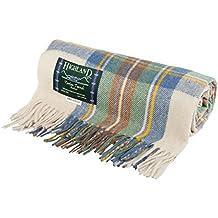 Highland écossais Mélange de laine Tartan Tweed très chaud Couverture Tapis  Stewart Muted Bleu ( db3089e9987