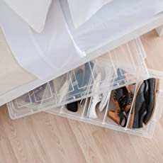 Now & Zen Plastic Underbed Storage Box with Wheel, Shoes Organiser Pack Of 2 (White)