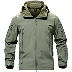 MAGCOMSEN Impermeable Windproof Chaqueta Montaña Llevar Combate Abrigos Ejercito Verde