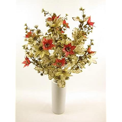 50 cm flores artificiales de Navidad rojo/Pascua con purpurina dorada de encaje y Holly Bush GT decoraciones de glaseado en forma de
