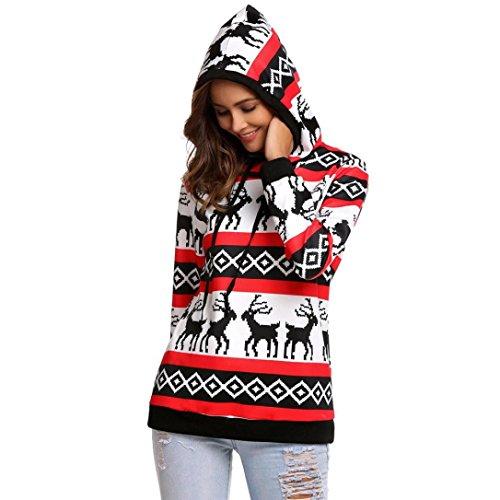 Damen Weihnachten Hoodies Sweatshirts Elch muster gedruckte Sweater Jumper Pullover Mit Kapuze Winter Rundhals Warm Kapuzenpullover outwear Freizeit Outdoor Sportkleidung mantel (M, (Tanzkleider Großhandel)