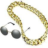 2 Piezas de Collar de Cadena de Oro Falso Collar de Hip Hop de Estilo Punk de los Años 1960 Cadena de Gargantilla de Disfraz con Gafas de Sol Redondas para Rapero (1,4 x 35,4 Pulgadas)