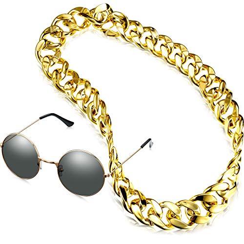 Yaomiao 2 Stück Faux Gold Kette Halskette 90er Jahre Punk Stil Hip Hop Halskette Kostüm Choker Ketten mit Runde Sonnenbrille Anzug für Rapper Requisiten (1,4 x 35,4 Zoll)