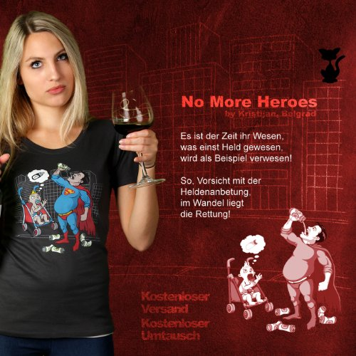 No More Heroes - Damen T-Shirt von Kater Likoli Anthrazit