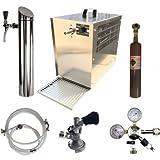 Bierzapfanlage 60 Liter Untertisch kpl. Set inkl. Schanksäule BITTE KEG ZAPFKOPF WÄHLEN: Flach-Zapfkopf, Co2 Flasche 0,5 Kg Co2 Flasche