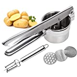 Potato Ricer Stainless Steel - Potato Masher, 3 Interchangeable Discs for Coarse