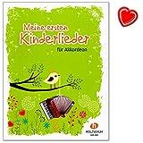Meine ersten Kinderlieder - 27 Kinderlieder für den Anfangsunterricht am Akkordeon - Notenbuch mit bunter herzförmiger Notenklammer